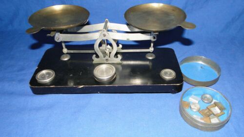 French Antique Balance Scale with Brass Pans, Weights and Box