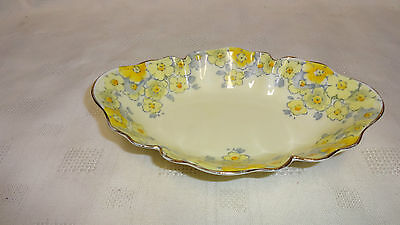 Vintage Attractive Crown Staffordshire Bonbon Dish - Yellow Flowers