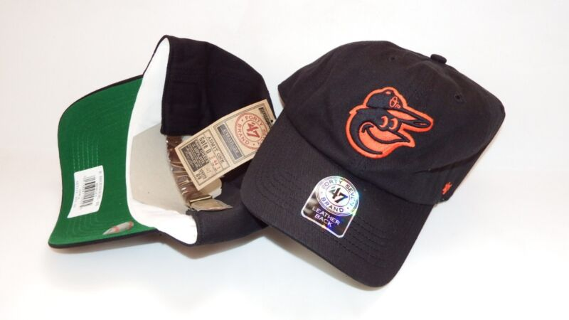 NWT NEW HAT CAP 47 SEVEN BALTIMORE ORIOLES ADJUSTABLE STRAPBACK IN LEATHER BLACK