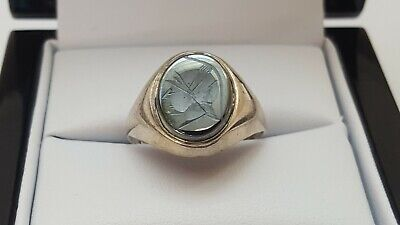 Vintage Sterling Silver Hematite Centurion Ring