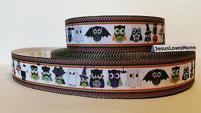 Grosgrain Ribbon, Cute Owls Dressed Up for Halloween, Ghosts Bats Skeletons, - Ghost Crafts For Halloween