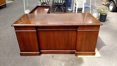 Vintage L Shaped Desks Walnut Right Return Lots Of Detailwedeliverlocallynorcal