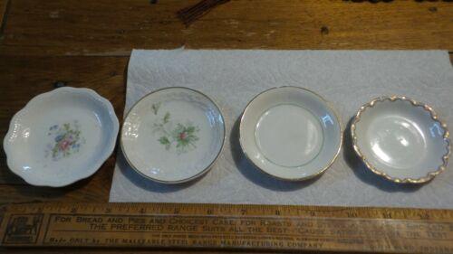 4 Antique BUTTER PATS All Different!  Floral, Plain, Gold Trim
