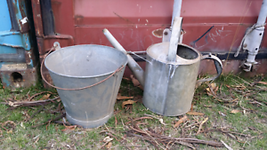 Old galvanized watering can and bucket