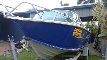 REDUCED !! Bluefin Weekender 4.5m, 'as new' trailer & 50hp Motor