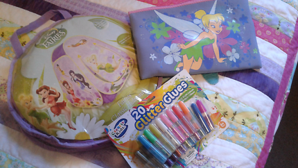 Tinkabell tent, pencilcase & glitter glue!