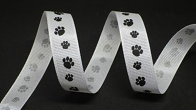Ribbon 16mm in 2m cut lengths - free postage (Paw Print Ribbon)