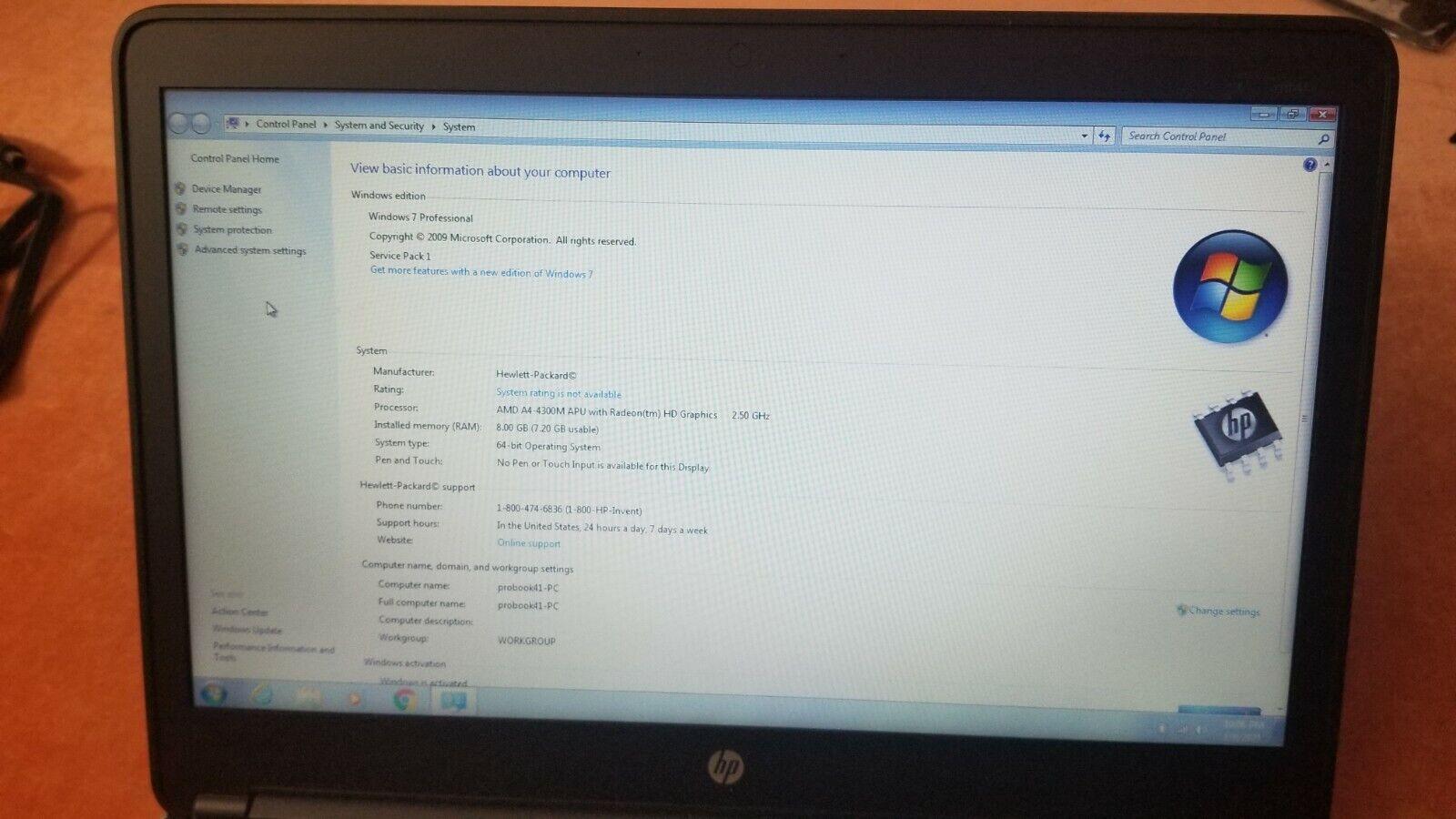 HP ProBook Mt41 Laptop 14 A4-4300M APU HD Graphics 2.50GHz 8GB Ram 320GB HDD - $119.00