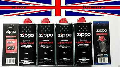 4 Genuine Original Zippo Premium  Lighter Fuel Fluid Refill 1 Wick & 6 Flints