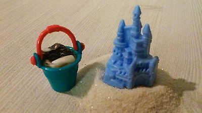 Miniature Beach Pail Castle Sand Seashells for Barbie Dollhouse