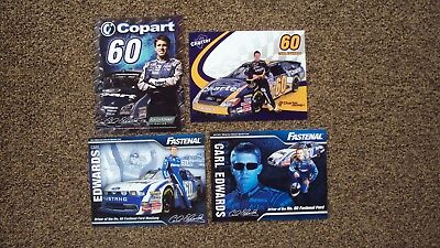 Lot Of 4 Diff   Carl Edwards  60   Fastenal Copart   Charter   Nascar Postcards