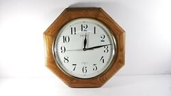Seiko Quartz Wall Clock Medium Brown Solid Oak Octagon Case 12 - Working!