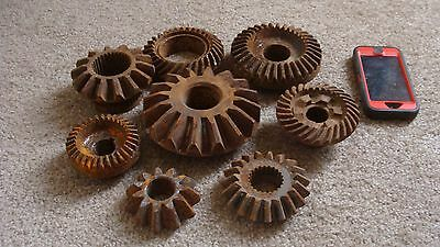 Primitive Vintage Cast Iron Gears Rusty Machine Age Steampunk Lot of 8 Wall Art