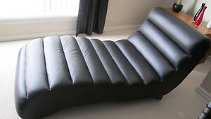 Black leather lounger