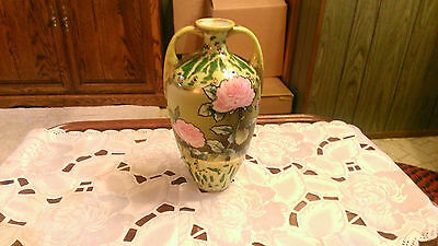 """Nippon Vase 2 Handle Tall Floral 10""""-Hand Painted Vase Green Beaded"""