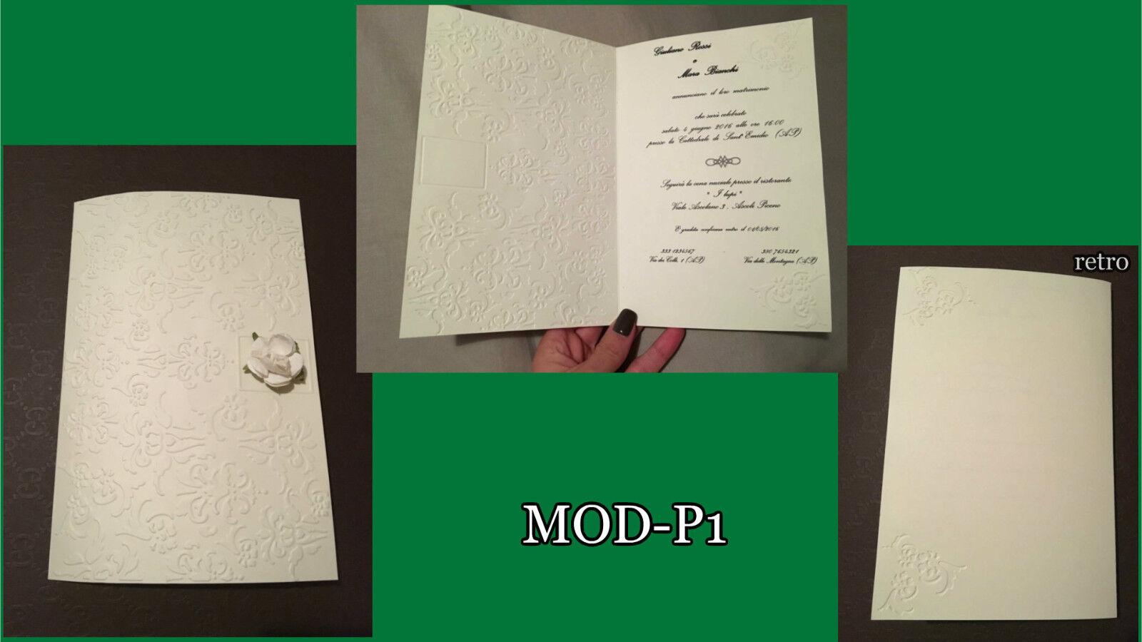 Partecipazioni Matrimonio inviti Nozze, fatte a mano, MOD-P1, eleganti raffinate