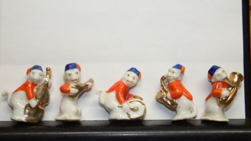 Monkey Orchestra or Band Quintet (5 pcs), Red, White, Blue & Gold, tiny