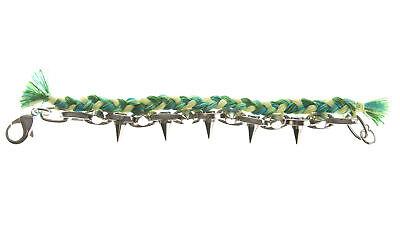 JOOMI LIM Punk Carnival Green Braided Cotton Bracelet w/ Rhodium Spikes NEW