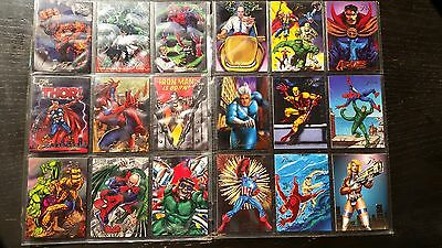 1994 Flair Marvel Universe complete set 50 base & Power Blast 18 Spiderman X-Men