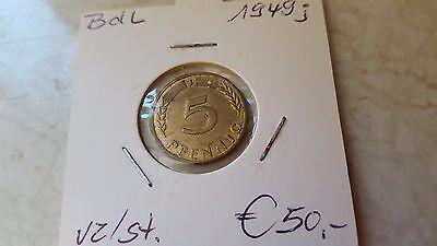 5 PF 1949 J  VZ/stgl   ab 5 auktionen portofrei