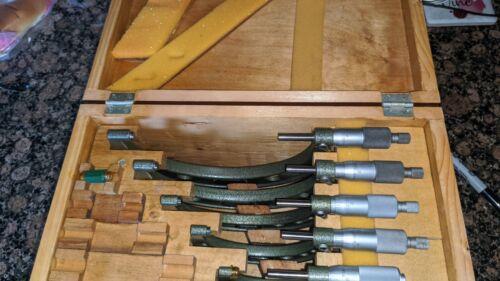 """Mitutoyo #103 0""""-6"""" Micrometer Set In Original Wood Box"""