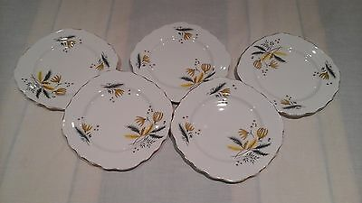 Vintage Colclough side plates in Stardust pattern x 5