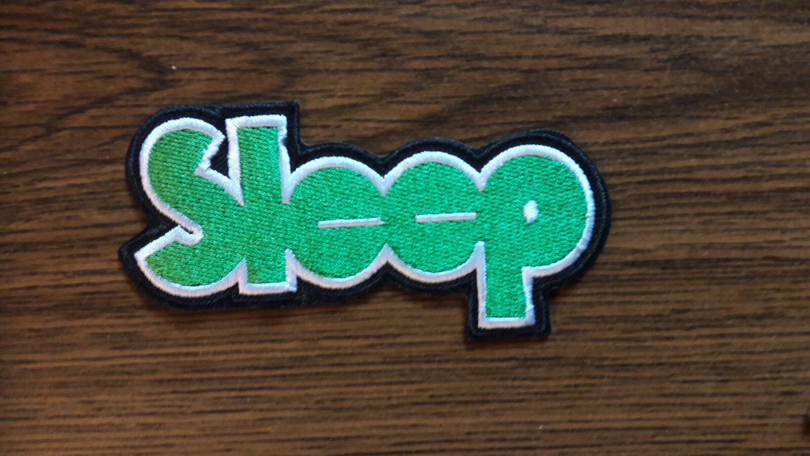 SLEEP,IRON ON GREEN EMBROIDERED PATCH