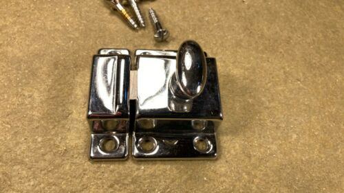 Vintage Chrome Plated Brass Turn Twist Cabinet Cupboard Door Latch Catch