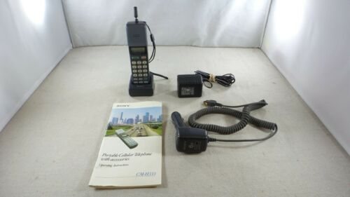 Vintage Sony CM-H333 Mars Bar Mobile Phone w/ Charger & Manual