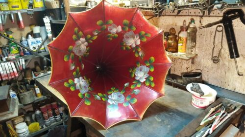 Antique Edison Cylinder Phonograph Red Floral Horn-The Best I Have Seen-T &T Co.