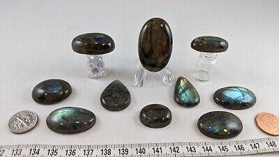 Loose gemstones: Labradorite Cabochons: 10 pieces: Green & Green-Brown varieties Cabochons Loose Gemstones Jewelry