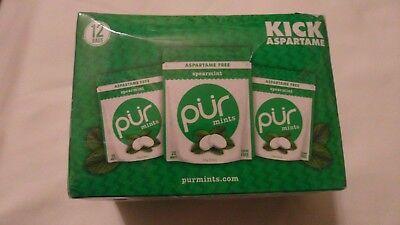 (12) Pack Box Of PUR Mints Aspartame Free Spearmint Flavor 20 Mints Per Pack