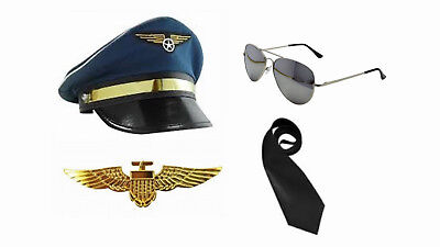 Mens Pilot Captain Aviator Cap Hat Wings Badge - Pilot Cap Kostüm