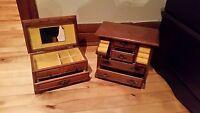 2 boites à bijoux en bois et feutre / 2 wood jewelry boxes