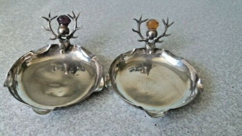 PAIR VINTAGE SILVER PLATED SCOTTISH DEER STAG PIN DISHES / ASHTRAYS