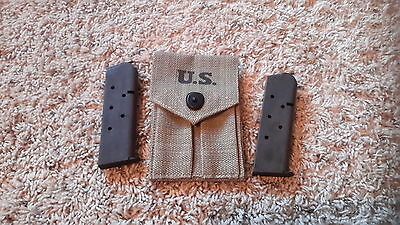 USGI ARMY MAGAZINE MAG POUCH WITH MAGS !! - COLT 1911 1911A1 .45 SET