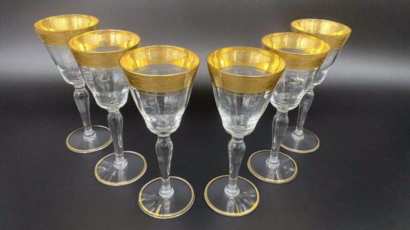 Tiffin Rambling Rose Gold Panel  Wine Stem glasses Set Of 6