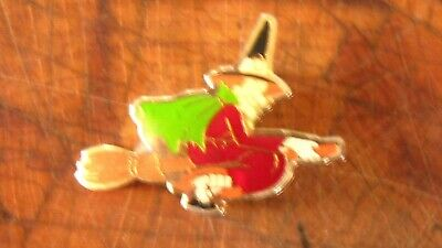 Vintage Halloween Gold Tone Enamel Witch on Broom Pin Brooch