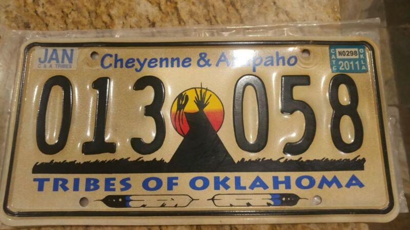Oklahoma License Plate Cheyenne & Arapaho Tribal # 013 058