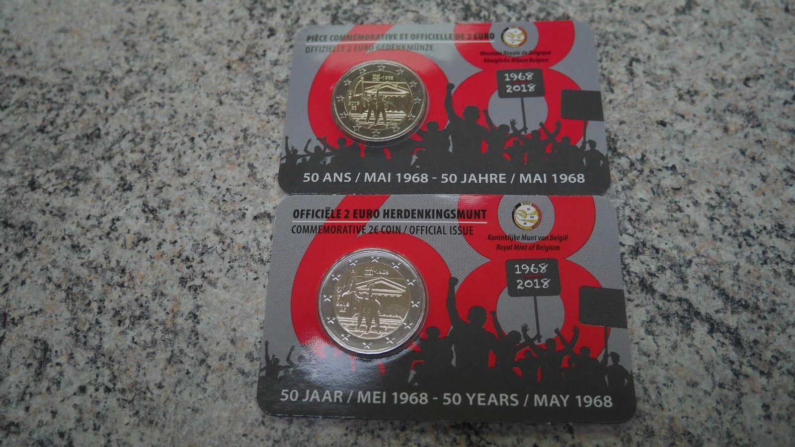 2 EURO 2018 50 jaar /ans Mai Mei 1968 - coincard België - Belgique !!!
