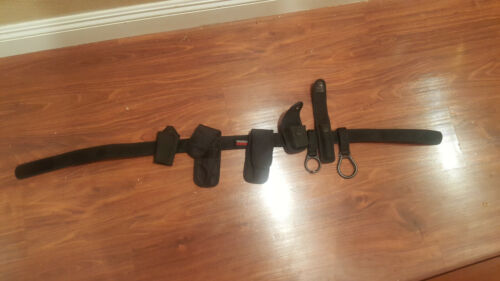 Used BIANCHI DUTY BELT NYLON Black Velcro Adjustable W/Accessories Size L