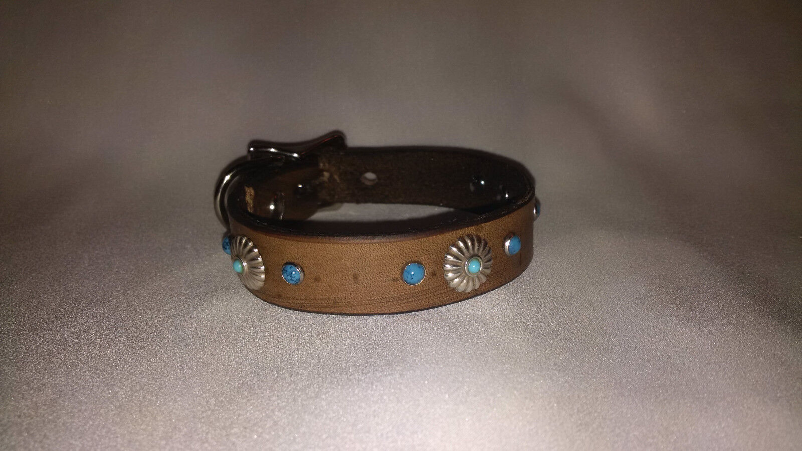 100% Leather Dog Collar for Small Dogs/ Turquoise stones and