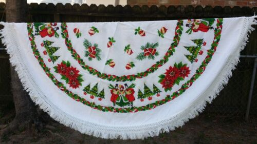 """VINTAGE PRINT CAROLERS CHRISTMAS ROUND 60"""" FRINGE TABLECLOTH FREE SHIPPING"""