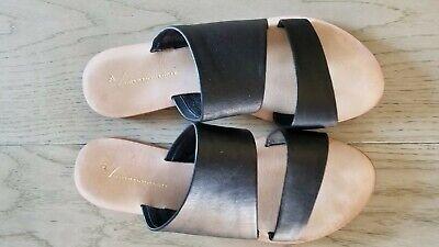 Anthropologie Seychelles Souvenir Sandals Black Leather Slip Ons Sz 38 | 7-1/2 M