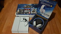 White PS4 w/ Gold Wireless Headset, 3 games, 1 controller