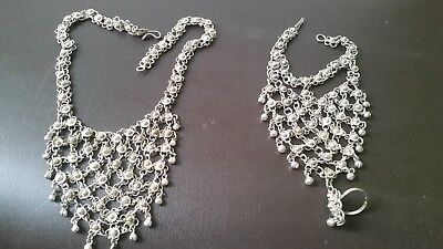 Necklace and Hand Bracelet (Silver colouring)