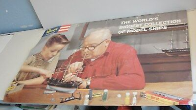 RARE VINTAGE REVELL AUTHENTIC MODEL KIT SHIPS STORE DISPLAY POSTER H.M.S
