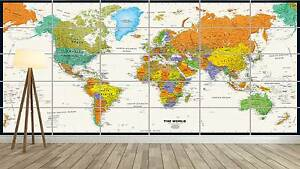 world map carte du monde xxl poster home deco salon 252cmx150 ebay. Black Bedroom Furniture Sets. Home Design Ideas