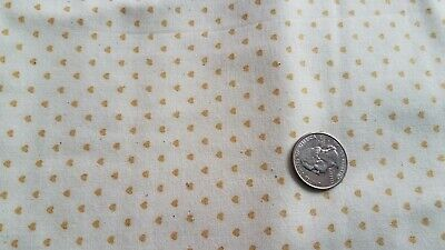 COTTON  FABRIC - SMALL GOLD HEARTS ON OFF WHITE     - White And Gold Fabric