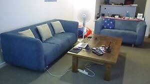 Stylish blue 3 + 2 seater lounge suite, very good condition Kangaroo Point Brisbane South East Preview